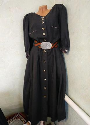 Resi hammerer/нереальной красоты льняное винтажное платье с юбкой плиссе