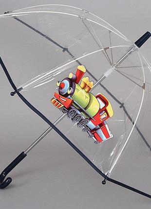 Зонтик детский прозрачный трость artrain 1511-1914 паровозик