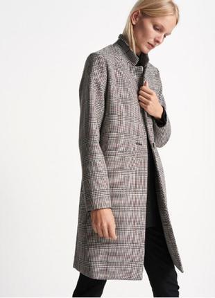 Легкое женское демисезонное пальто на одну пуговицу в клетку someday тренч кардиган