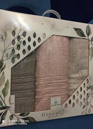 Комелект банных турецких полотенец высокой плотности 3 шт