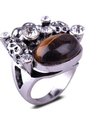 🏵красивое массивное кольцо с камнем тигровый глаз, 18 р., новое! арт. 3625