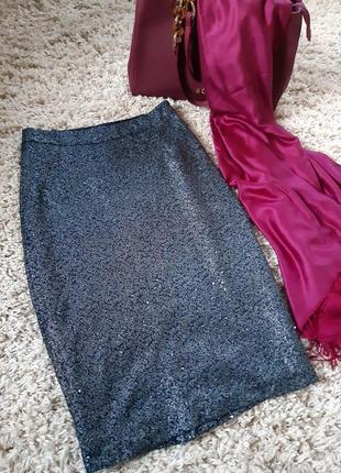 Шикарная нарядная юбка карандаш миди,  паетки,soaked in luxury, p. xs