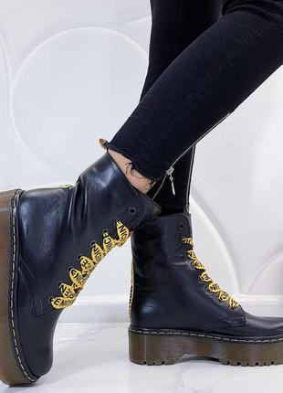 Новые женские кожаные демисезонные черные ботинки