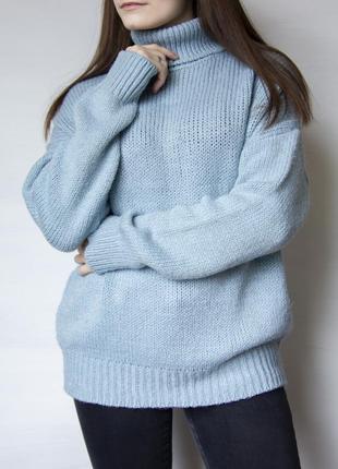 Мягкий свитер c воротником, нежно - голубого цвета от primark