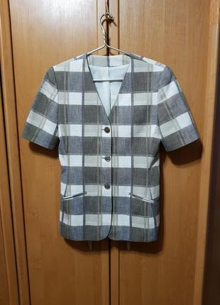 Пиджак, пиджак-рубашка, кардиган, жакет в клетку с короткими рукавами