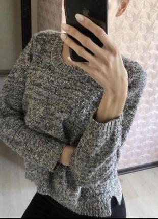 Серебристый блестящий пайетки серый свитер свитерок marks&spencer