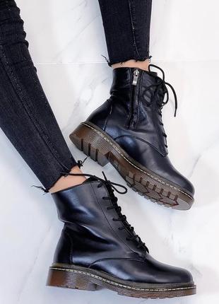 Новые  женские демисезонные кожаные черные ботинки