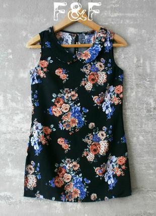 Вискозная блуза чёрного цвета в цветочный принт сочных оттенков - f&f