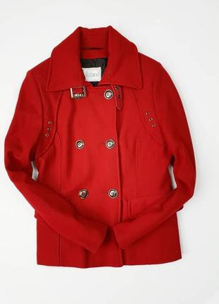 Брендовое темно-красное шерстяное демисезонное пальто полупальто lakeland этикетка