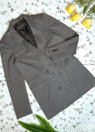 🌿1+1=3 шикарный серый фирменный двубортный плотный пиджак оверсайз mango, размер 44 - 46