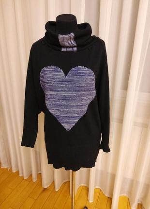 Черный свитер.кофта принт.высокий ворот батал  parkhande раз.52-54