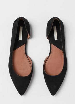 Балетки, натуральная замша, туфли на низком ходу h&m, острый носок
