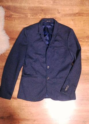 Синий  трикотажный пиджак