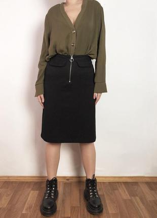 Чёрная юбка-миди