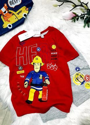 Крутой набор футболка и шорты пожарник sam, рост 110-116