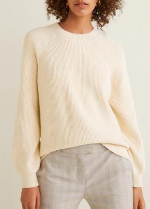 Натуральный нежно-молочный свитер,  джемпер oversize mango