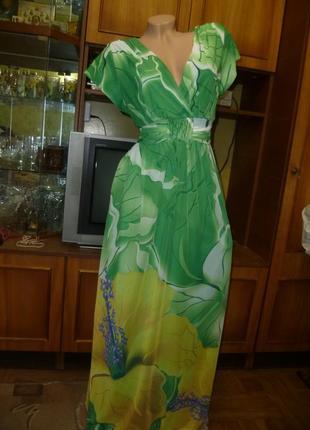 Красивое платье срейч-сетка,как шифоновое летнее макси в пол длинное