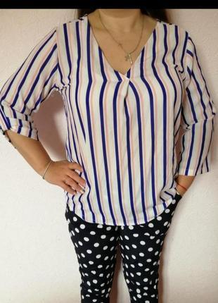 Рубашка блузка блуза в полоску нарядная