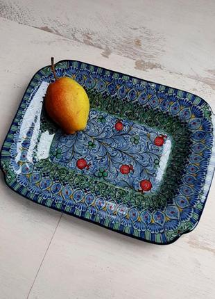 """Керамическое блюдо """"анор"""" с изящной росписью. узбекистан"""