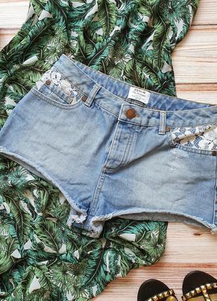 Крутые джинсовые шорты с высокой талией и кружевом