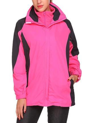 Куртка ветровка guteer софтшелл весенняя непродуваемая розовая черная флисовая