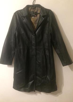 Genuine real leather кожаное пальто плащ