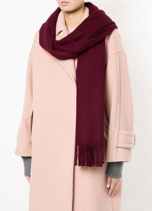 Модный длинный шарф gap цвет марсала с бахромой