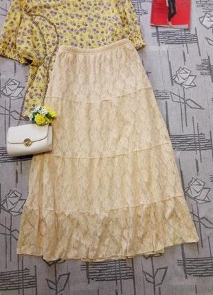 Шикарная ванильная кружевная юбка миди! claudia rihata, размер 10-12