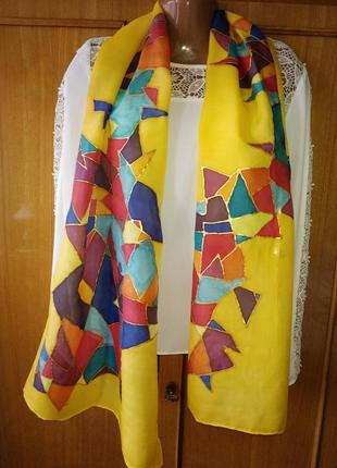 """Натуральный шёлк, шарф """"золотая мозаика"""", батик, роуль, 174х45 см."""