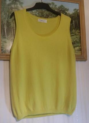 Топ, безрукавка,кашемир, johnstons cashmere шотландия ,рр 40, цвет лимонный