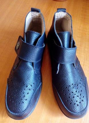 Кожаные демисезонные ботинки на липучке, размер 6е, стелька 25,5 см