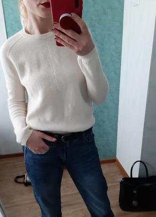 Молочный кашемировый свитер, джемпер оверсайз