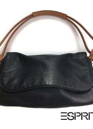 Кожаная минималистичная сумка багет через плечо среднего размера от esprit.