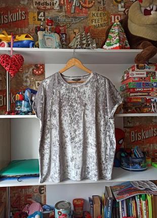 Нарядная бархатная велюровая футболка next мрамор