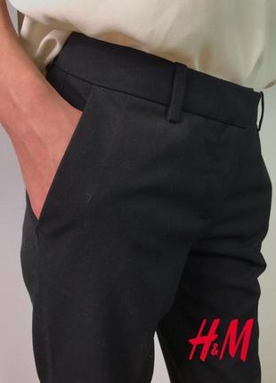 Черные классические прямые брюки дудочки на средней посадке от h&m xs/34/6.