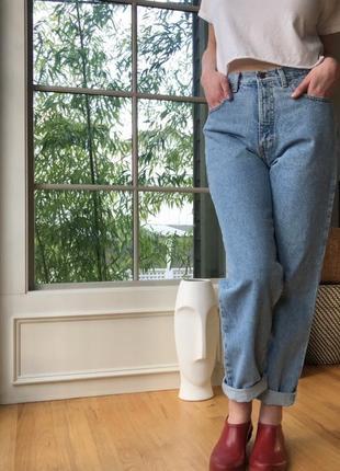 Мом джинсы высокая посадка бойфренды бананы плотный джинс eddie bauer