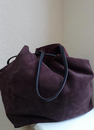 Mango замша сумка-шоппер.