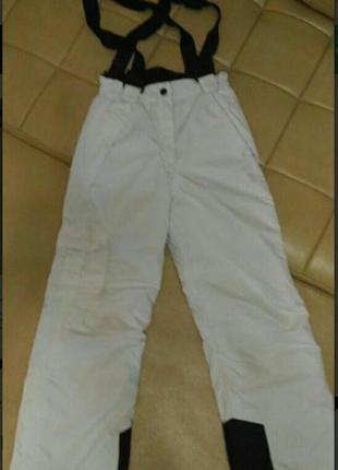 Горнолыжные, лыжные утеплённые брюки с лямками на плечах, ромт 140см