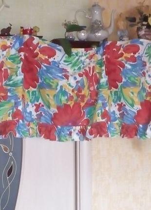 Красивая яркая штора- ламбрекен 2 метра 37 см/штора/тюль/занавеска/ламбрекен