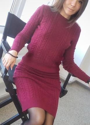 Вязанный комплект свитер+ юбка
