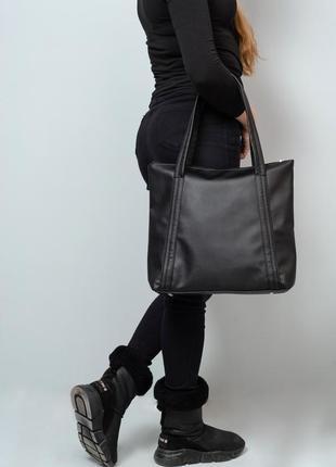 Женская черная сумка шопер, экокожа