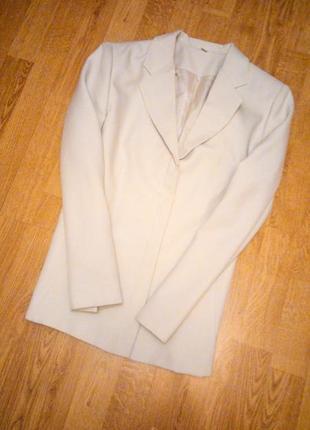Белый кремовый пиджак бежевый айвори шампань классический деловой офисный