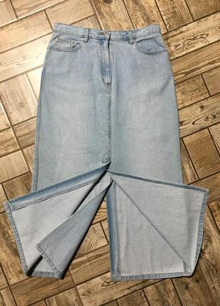 Стильная джинсовая юбка с разрезами ,трапеция!