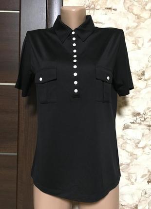 Шёлковая трикотажная футболка поло,с воротником,madeleine