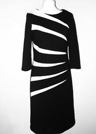 Roman платье чёрное белое на подкладке классическое миди большое батальное