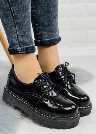 Новые шикарные женские лаковые чёрные туфли