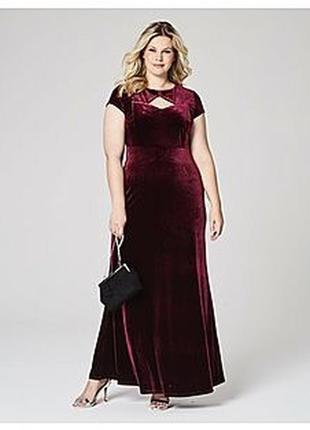 Длинное вечернее платье макси в пол бордовое вишневое велюровое большое батал
