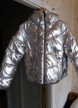 Куртка дутая пуффер зефир пуховик серебро металлик