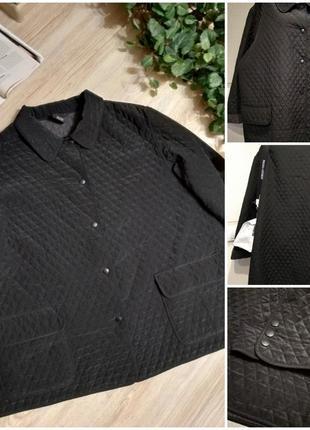 Чёрная стеганая куртка парка плащ теплая большого размера