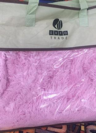 Плед травка розовая